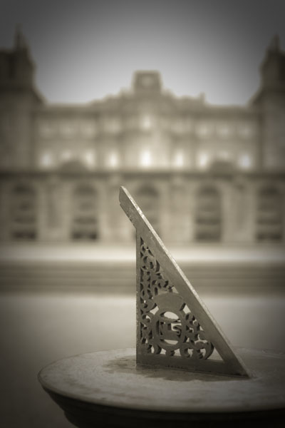 sundial black and white photography