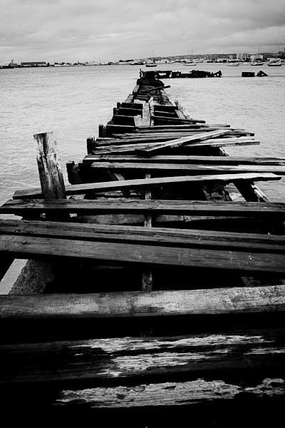 jetty black and white photography
