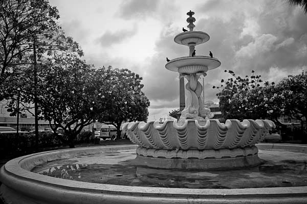 fountaininbridgetown black and white photography
