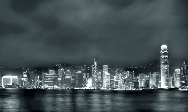 cityofhkbw2 - The city of Hong Kong as seen from across the water on Kowloon.   - black and white photography