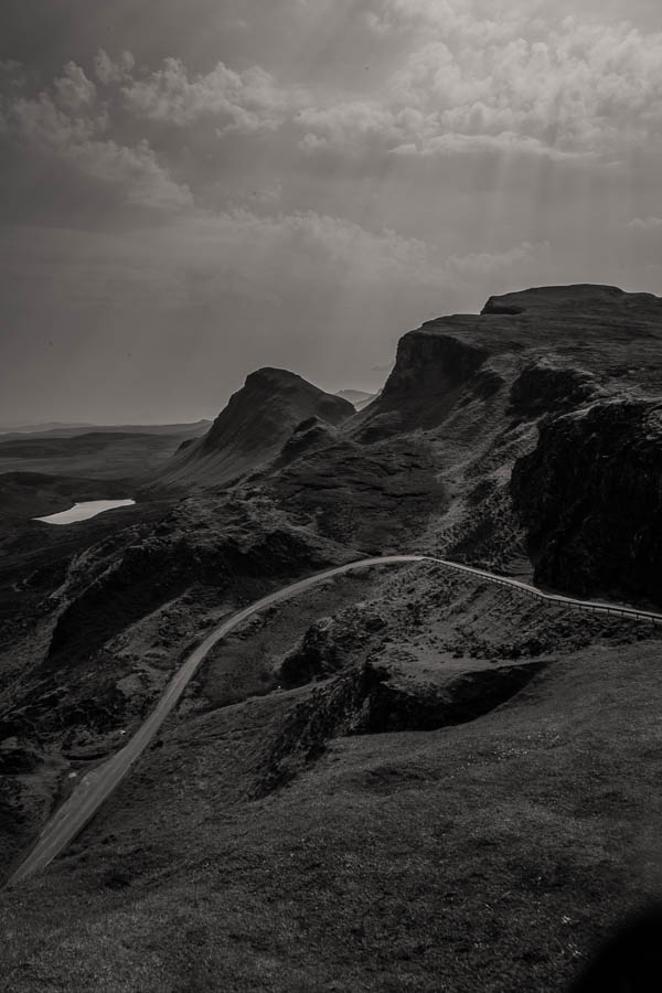 climbingthequiraing black and white photography