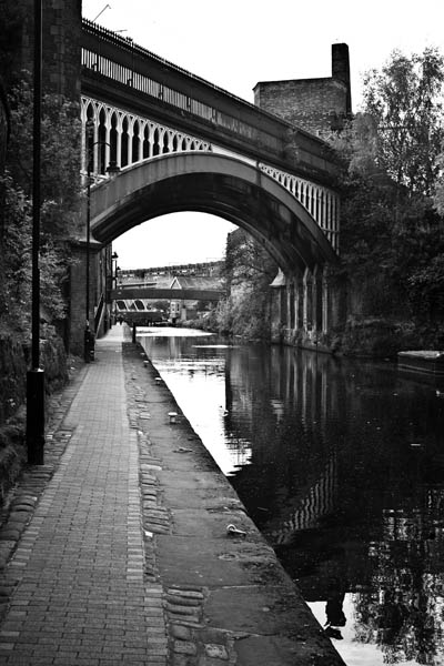 Canal black and white photography