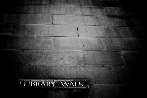 librarywalk black and white photography