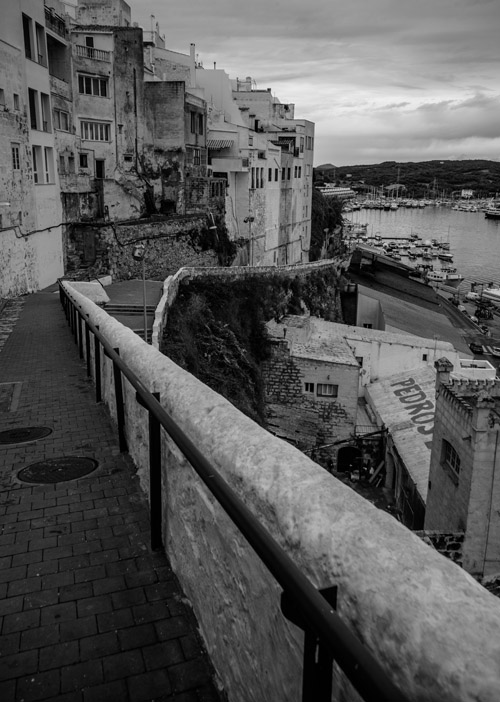 pedros - Climbing the hill back to Mahon Old Town - black and white photography