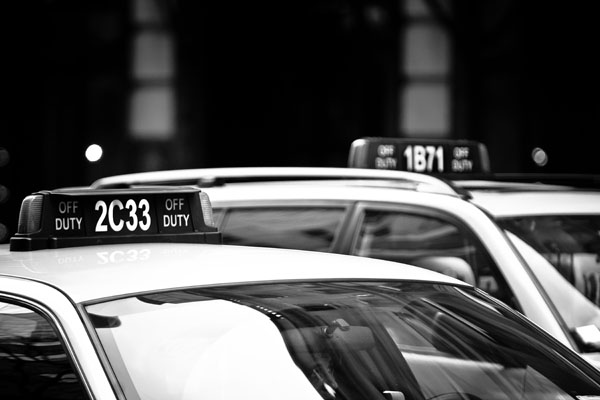 taxis black and white photography