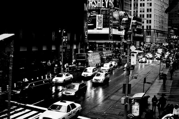 taxisintimessquare black and white photography