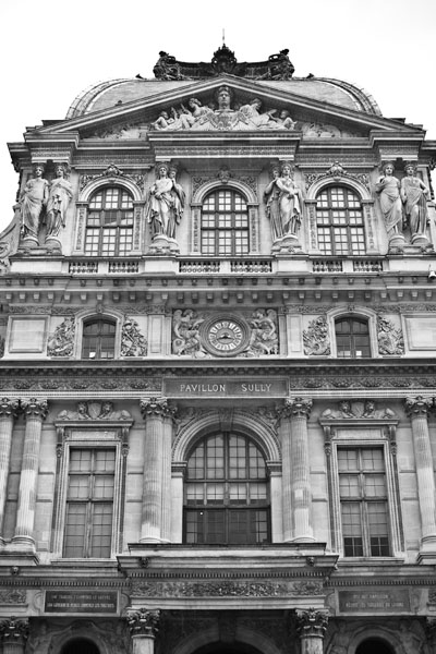 louvrefacade  -  black and white photography for sale