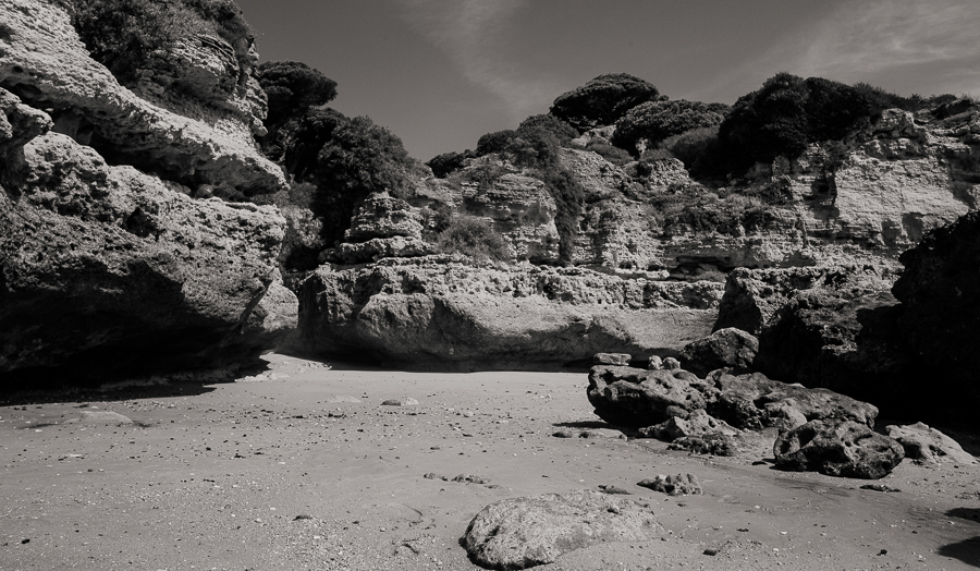 discoveredbay - The Algarve is littered with tiny bays and beaches - black and white photography