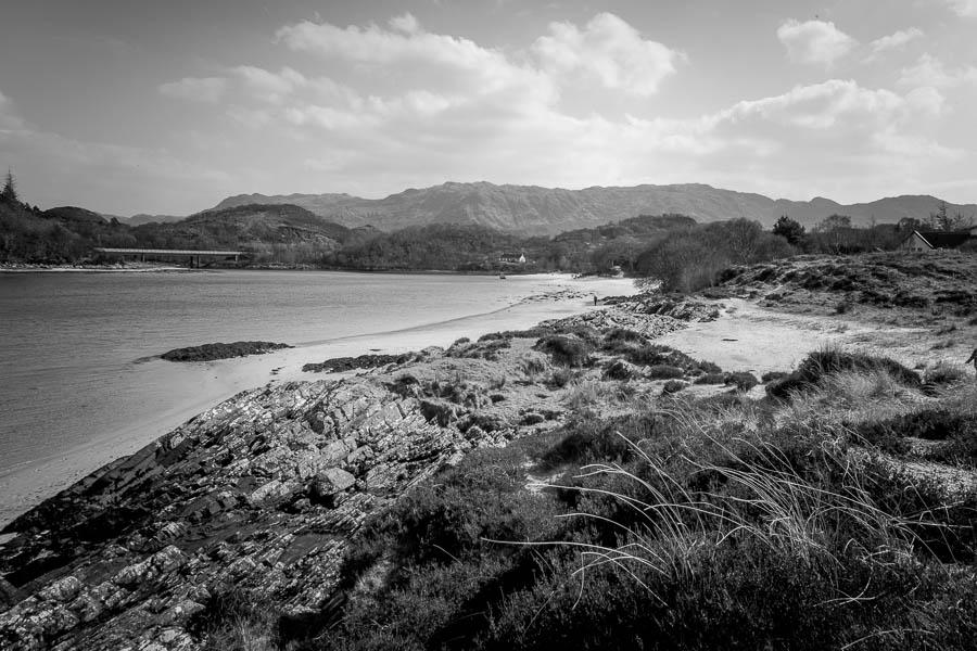 coastline black and white photography