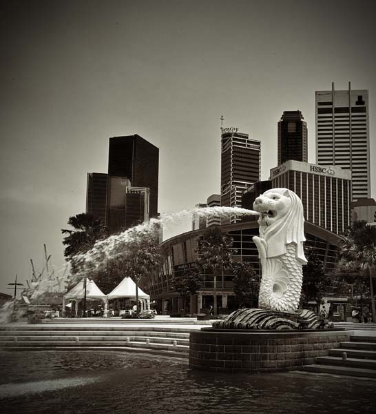 Merlion black and white photography