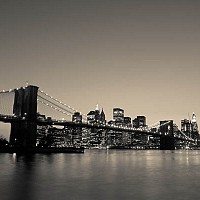 brooklynbridgeatnight - black and white photography for sale