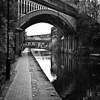 canal - The Bridgewater Canal was the first major project that helped link Manchester to the outside world. Originally built by Francis Egerton, the Canal was used to transport coal from his mines in Worsley to Manchester -  print for sale