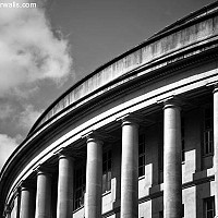 centrallibrary - Built and completed in 1934, the Central library stands adjacent to the Town Hall. The library building is grade II listed and is often mistaken as being much older than it actually is. This library was where Friedrich Engels studied during his time in Manchester. -  print for sale