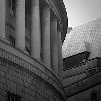 columnscentrallibrary - Rumour has it that Morrissey studies for his A-levels in the Central Library at Manchester. This photograph shows the classical style of the design against the backdrop of the Town Hall. -  print for sale