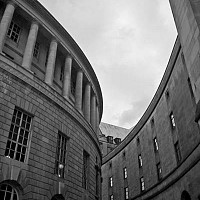 librarymanchester - Another photograph showing the passageway between the Town Hall and the Central Library.  -  print for sale