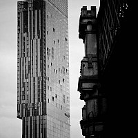 lookingatthetower - The old and the new. This photograph juxtaposes the two sides of Manchester as a modern European city. The Beetham tower was completed in 2006 and boasts a Hilton Hotel within its glass and steel structure. The railways have been in Manchester forever. -  print for sale