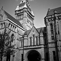 owens - The John Owens building at Manchester University was built in 1873 and designed by the famous architect Alfred Waterhouse. This shot shows a view from the Quadrangle inside.  -  print for sale