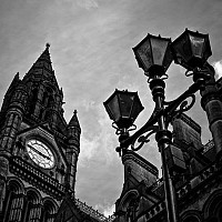 townhall - Manchester Town Hall was built to celebrate the magnificence of this great industrial city. Construction started in 1868 and was designed once again the great Alfred Waterhouse. The town hall stands on Albert Square. -  print for sale