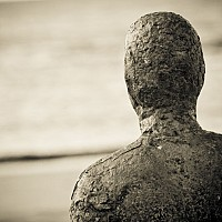 gormley - Anthony Gormley's Statue at Another Place, Crosby -  print for sale