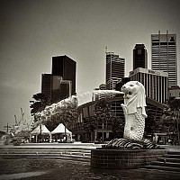 merlion - black and white photography for sale