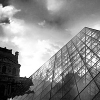 impei - I M Pei's famous glass pyramid design at the Louvre, Paris, 2008 -  photograph for sale