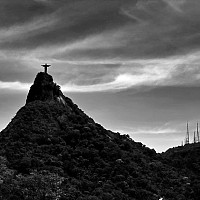 atopcorcovado - Corcovado Peak in Rio. The statue at the top is Christ the Redeemer visible from all across the city. This print is a limited edition of fifty. -  print for sale