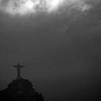 christinthemist - Christ The Redeemer poking through the mist and clouds in Rio De Janeiro, Brazil, This print is a limited edition of fifty. -  print for sale