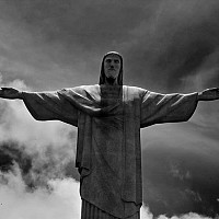christsstatue - The Statue of Christ the Redeemer on Corcovado, Rio De Janeiro. This picture was taken in 2005. -  print for sale