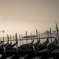 earlymorningvenice - Taken very early in Spring 2008. The gondolas at the entrance to St Mark's Square, Venice. -  print for sale
