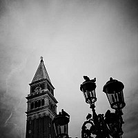 venicecampanile - The famous Campanile rising from St Mark's Square, Venice. 2008.  -  print for sale