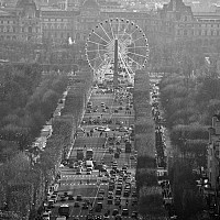 concordewheel - This shot was taken looking down the Champs Elysees towards the Place De La Concorde. The Tuileries can be seen in the edge of this picture. -  print for sale