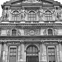 louvrefacade - Another shot revealing the classic design detail of the Louvre. -  print for sale