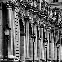 louvrevanishingpoint - This photograph shows the intricate design of the detail around the Museum. -  print for sale