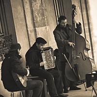 musicians - Musicians at Place Des Vosges. This image was taken in the Winter of 2008 -  print for sale