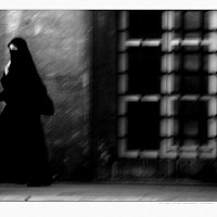 calltoprayer - A lady rushed to the Mosque following the Call to Prayer -  print for sale