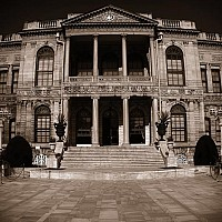 dolma2 - Dolmabahce Palace, Istanbul. The last Sultan of the Byzantine era left the city from this location, via the Bosphorus in 1923. -  print for sale