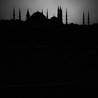 silhouettebluemosque - Night falls on the old city of Istanbul -  print for sale
