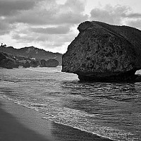 bathshebabeach - Bathsheba Beach, Barbados. This black and white photograph shows the magnificent Bathsheba Beach, Barbados. This beach is situated on the East Coast of the Caribbean Island.  -  print for sale