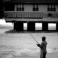 catchingsupper - Fishing at Carlisle Bay. Carlisle Bay is a short walk from the capital city of Bridgetown  -  print for sale