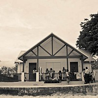hangingout - On the waterfront, Carlisle Bay, Barbados. This shot shows local Bajans at the Beach.  -  print for sale