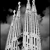 lasagrada - Barcelona - La Sagrada Familia, 2003. Antoni Gaudi's famous Cathedral in Barcelona. La Sagrada Familia is still to be completed long after Gaudi's death.  -  photograph for sale