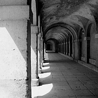 tunnel - At the Royal Palace of Aranjuez, outside Madrid.  -  photograph for sale