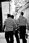 gondoliers black and white photography