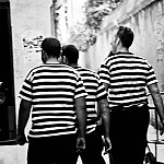 black and white gondoliers photography