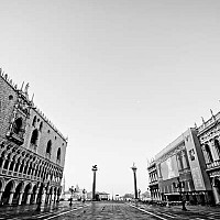 stmarks - St Marks, Early Morning, Venice, Italy. This photograph shows one end of St Mark's square in Venice. The Doge's Palace can be clearly seen on the left of the image. The Campanile is to the right on this image.  -  photograph for sale
