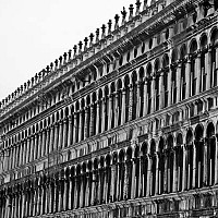 stmarksfacade - St Marks, Venice, Italy. This photograph shows the detail of the buildings around St Mark's Square in Venice, Italy. This photo was taken in 2008.  -  photograph for sale