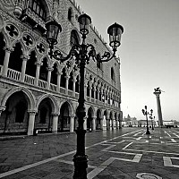 streetoutsidedoge - Outside the Doge's Palace, Venice, Italy. This photograph was taken at around 5 in the morning in Summer 2008. The Doge's Palace is one of Venice's most famous Landmarks. -  photograph for sale