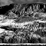 black and white rockface photography